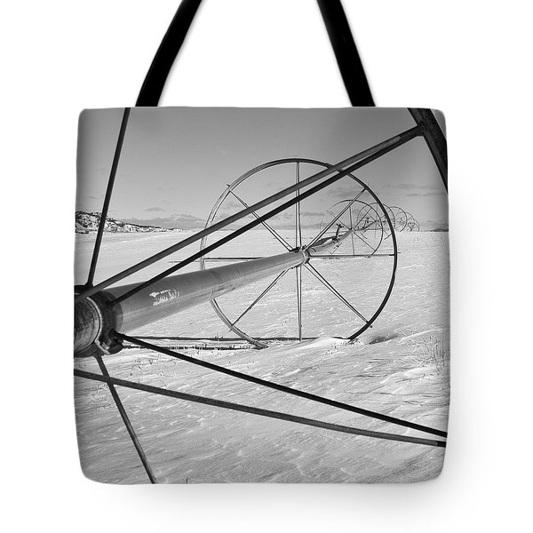 Irrigation Pipe In Winter Tote Bag by Theresa Tahara