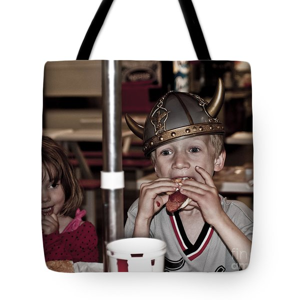 Tote Bag featuring the photograph Is She Adoring Her Viking Or Coveting His Lunch by Sandi Mikuse
