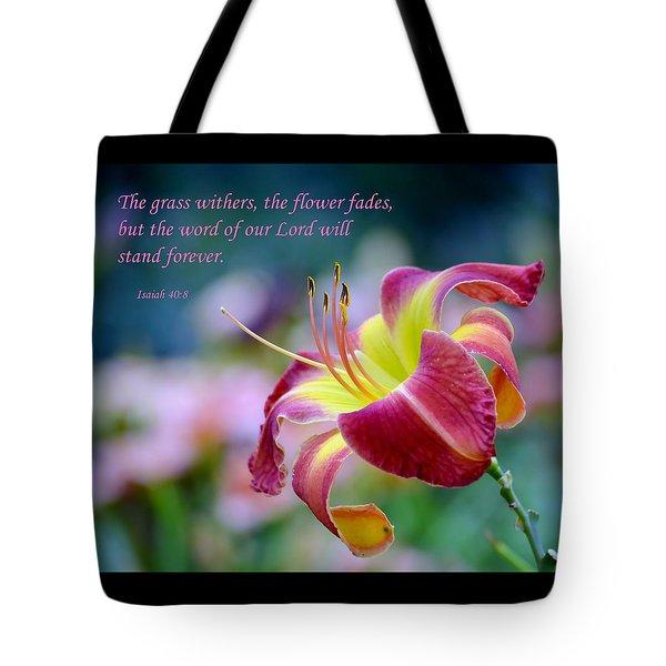 Isaiah 40-8 Tote Bag