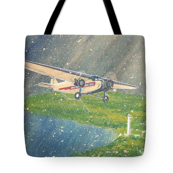 Island Airlines Ford Trimotor Over Put-in-bay In The Winter Tote Bag