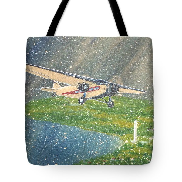 Island Airlines Ford Trimotor Over Put-in-bay In The Winter Tote Bag by Frank Hunter