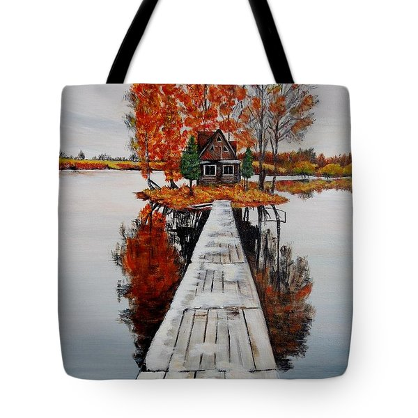 Island Cabin Tote Bag by Marilyn  McNish