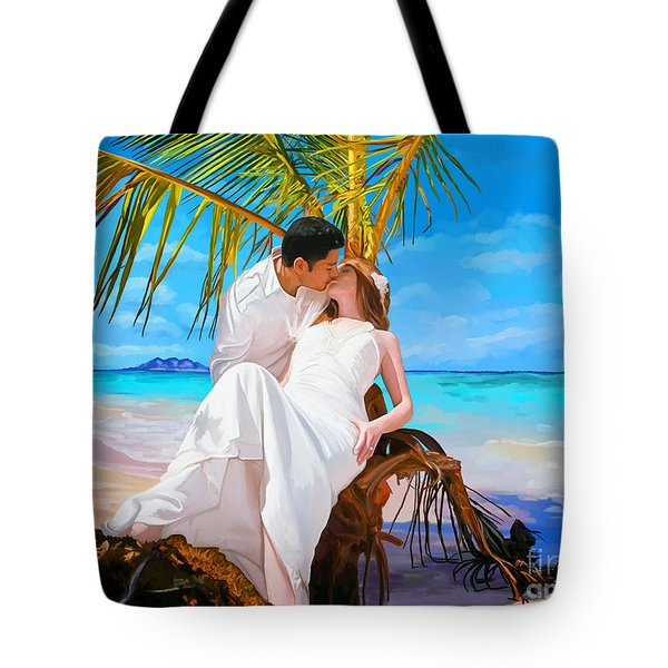Tote Bag featuring the painting Island Honeymoon by Tim Gilliland