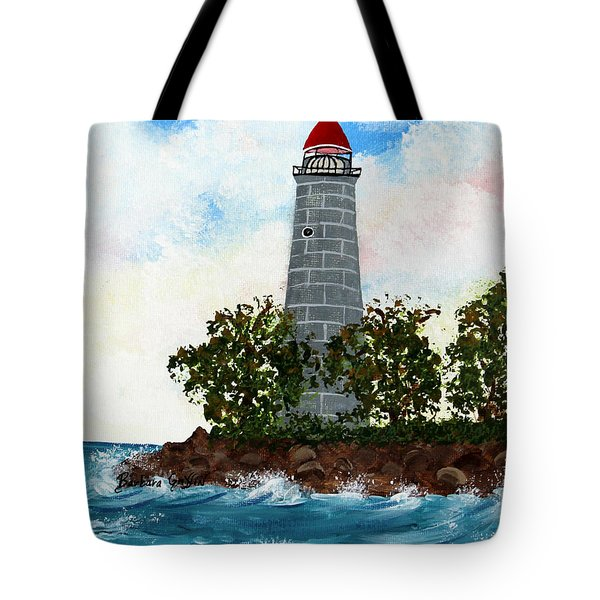 Island Lighthouse Tote Bag by Barbara Griffin