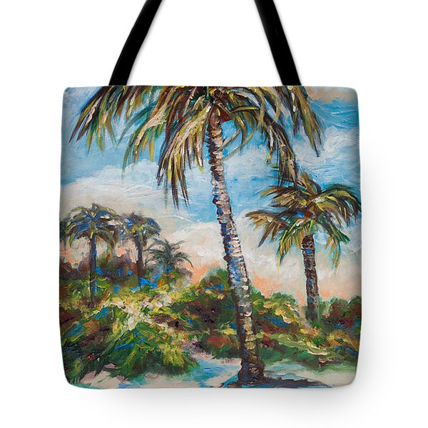 Tote Bag featuring the painting Island Palms by Linda Olsen