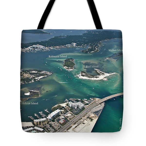 Tote Bag featuring the photograph Islands Of Perdido - Labeled by Gulf Coast Aerials -