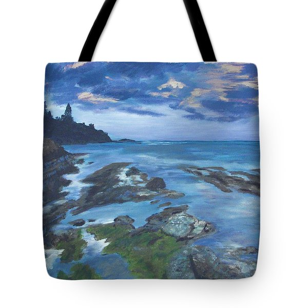 Tote Bag featuring the painting Isle Coast by Cynthia Morgan