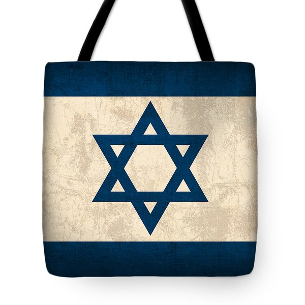 Israel Flag Vintage Distressed Finish Tote Bag by Design Turnpike