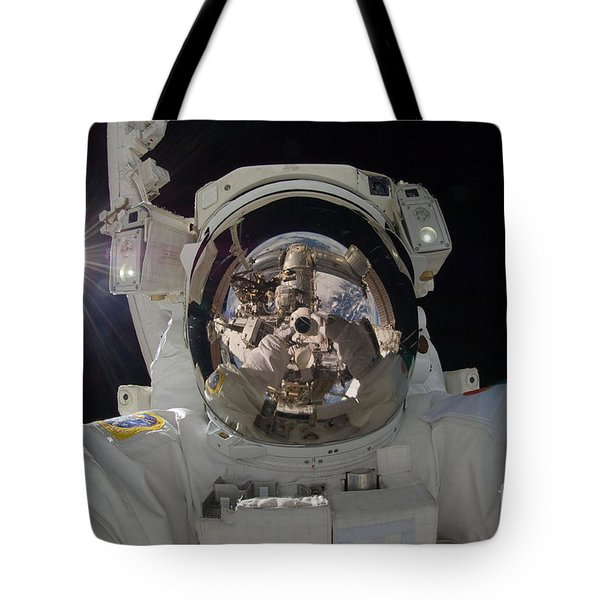 Iss Expedition 32 Spacewalk Tote Bag by Nasa Jsc