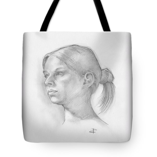 Tote Bag featuring the drawing Issabell by Paul Davenport
