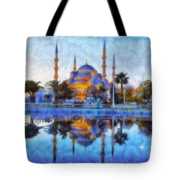 Istanbul Blue Mosque  Tote Bag by Lilia D