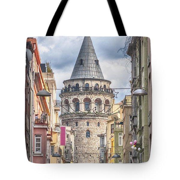 Istanbul Galata Tower Tote Bag