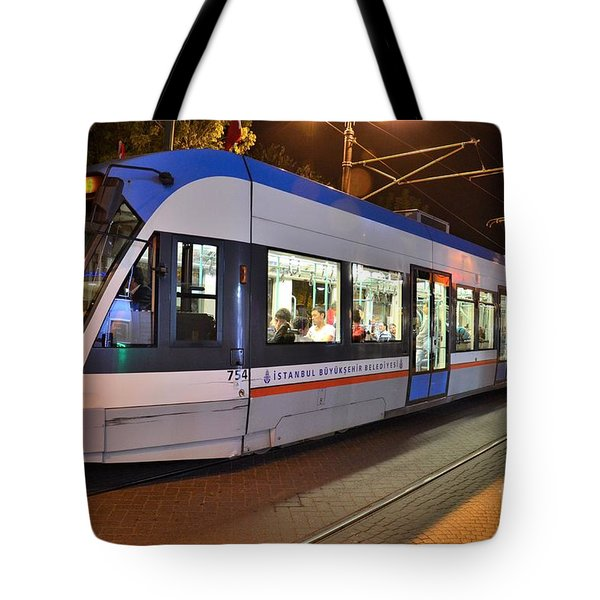 Istanbul Tram At Night Tote Bag by Imran Ahmed