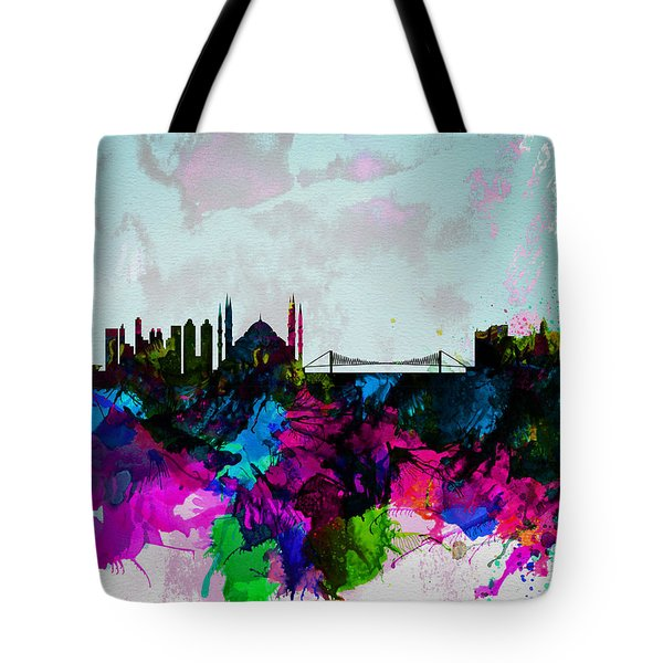 Istanbul Watercolor Skyline Tote Bag
