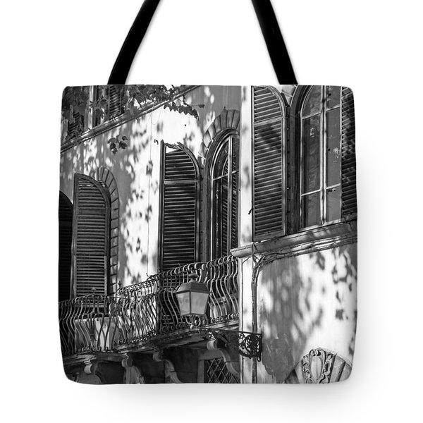 Italian Facade In Bw Tote Bag