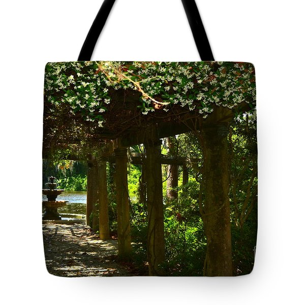 Italian Garden Pergola And Fountain Tote Bag