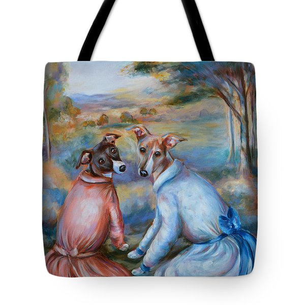 Italian Greyhounds Renoir Style Tote Bag