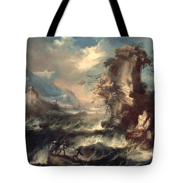 Italian Seascape With Rocks And Figures Tote Bag by Marco Ricci