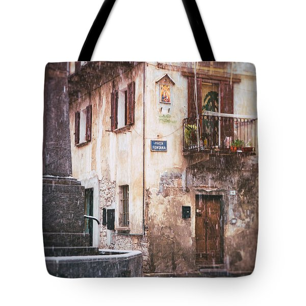 Tote Bag featuring the photograph Italian Square In  Snow by Silvia Ganora