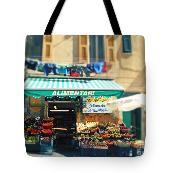 Italy Cinqueterre Store Front Tote Bag by Sylvia Cook