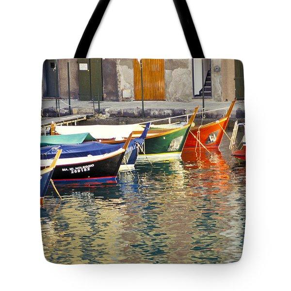 Italy Portofino Colorful Boats Of Portofino Tote Bag by Anonymous