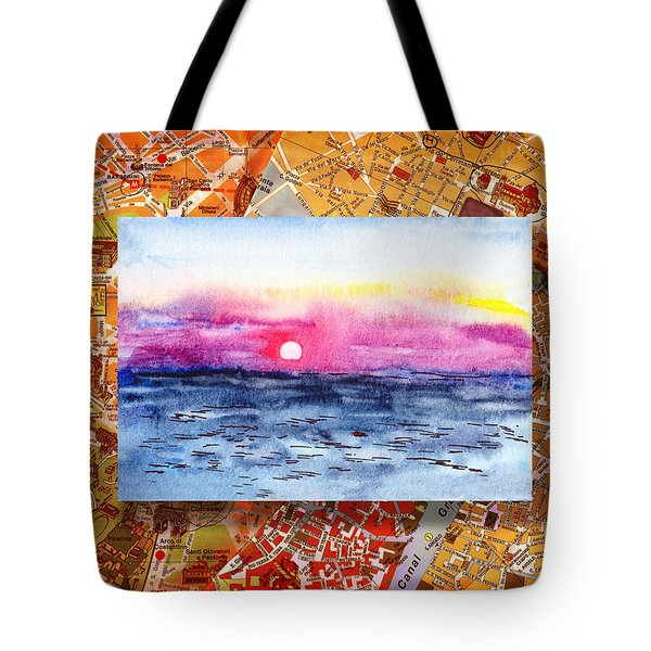 Italy Sketches Sorrento Sunset Tote Bag by Irina Sztukowski