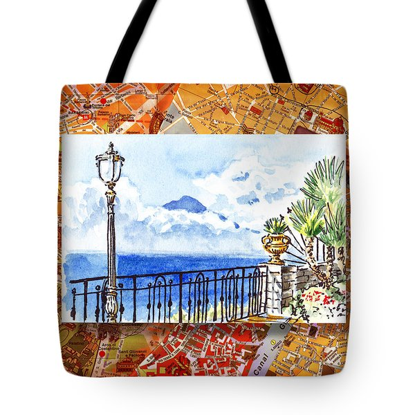Italy Sketches Sorrento View On Volcano Vesuvius  Tote Bag