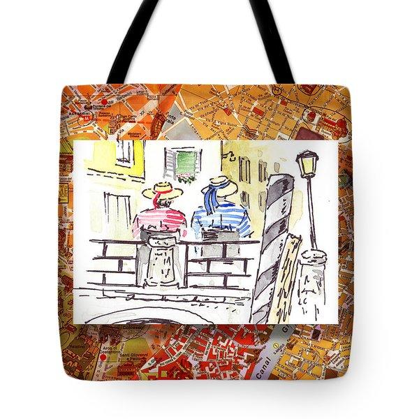 Italy Sketches Venice Two Gondoliers Tote Bag by Irina Sztukowski
