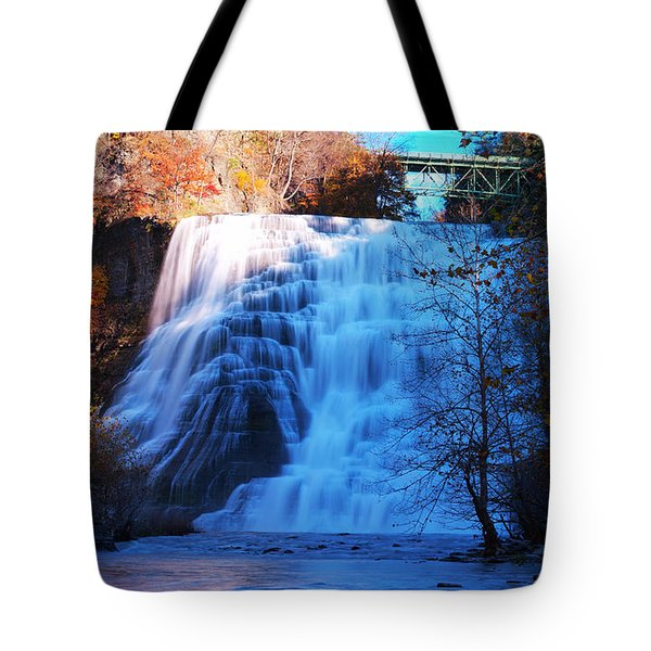 Ithaca Water Falls New York Panoramic Photography Tote Bag by Paul Ge