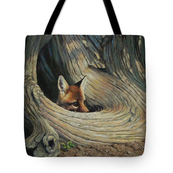 Fox - It's A Big World Out There Tote Bag by Crista Forest