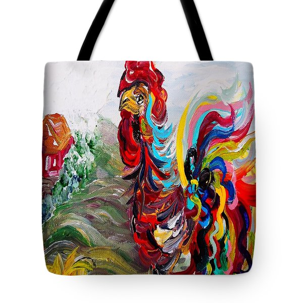 It's A Cockadoodle Do Morning - Portrait Version Tote Bag by Eloise Schneider