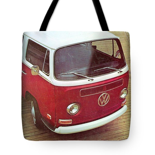 It's A Station Wagon More Or Less - Vw Camper Ad Tote Bag by Georgia Fowler