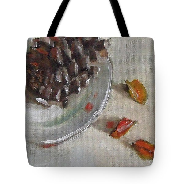 Pine Cone Still Life On A Plate Tote Bag