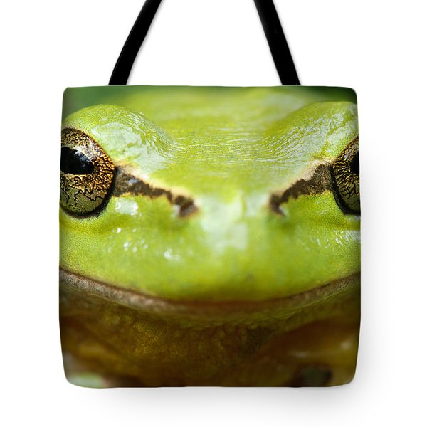 It's Not Easy Being Green _ Tree Frog Portrait Tote Bag by Roeselien Raimond