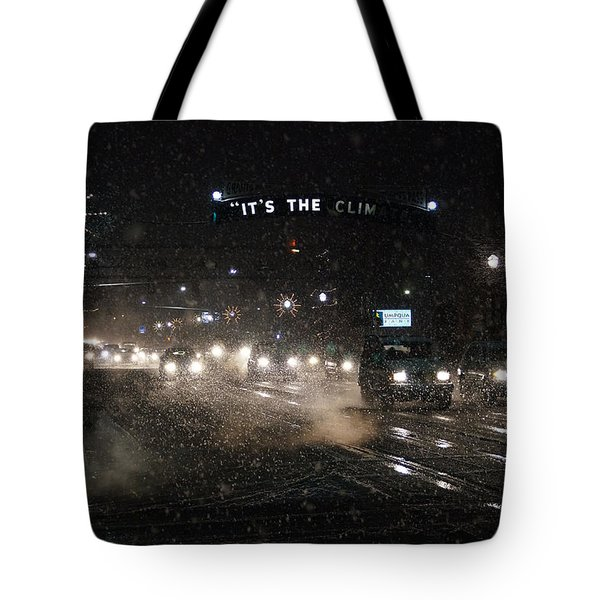 Its The Climate - Christmas Snow Tote Bag by Mick Anderson