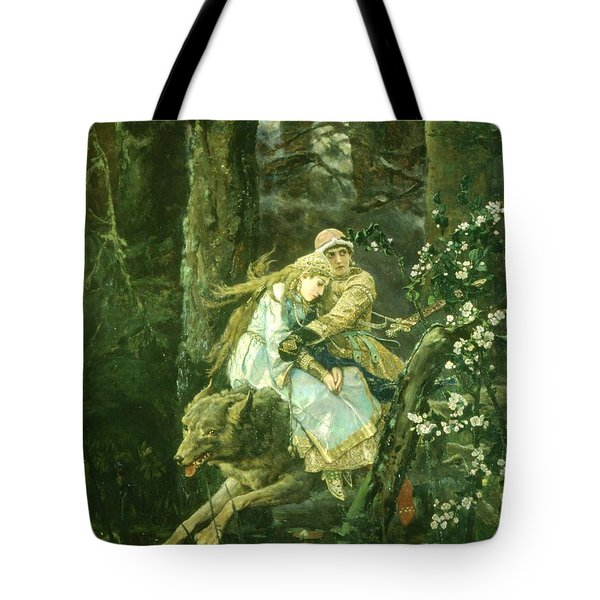 Ivan Tsarevich Riding The Grey Wolf, 1889 Oil On Board Tote Bag