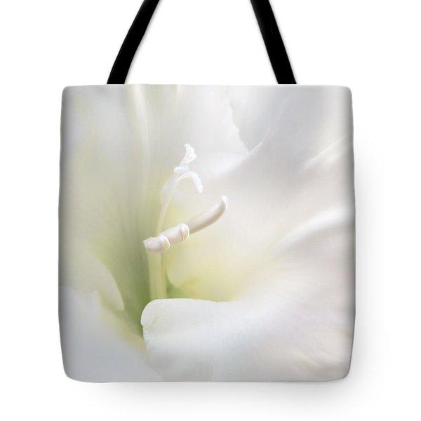 Ivory Gladiola Flower Tote Bag