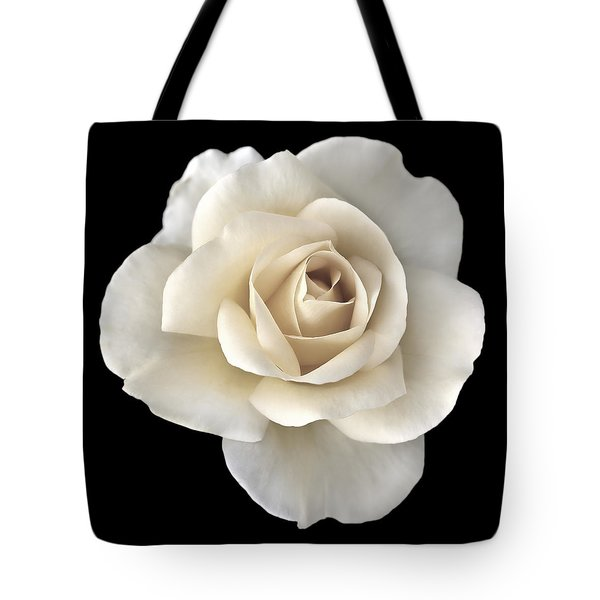Ivory Rose Flower Portrait Tote Bag by Jennie Marie Schell