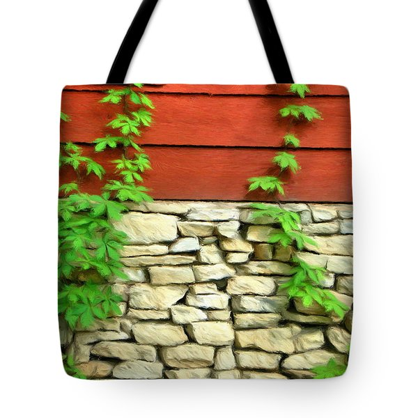 Ivy On Stone And Wood Tote Bag by Jeffrey Kolker