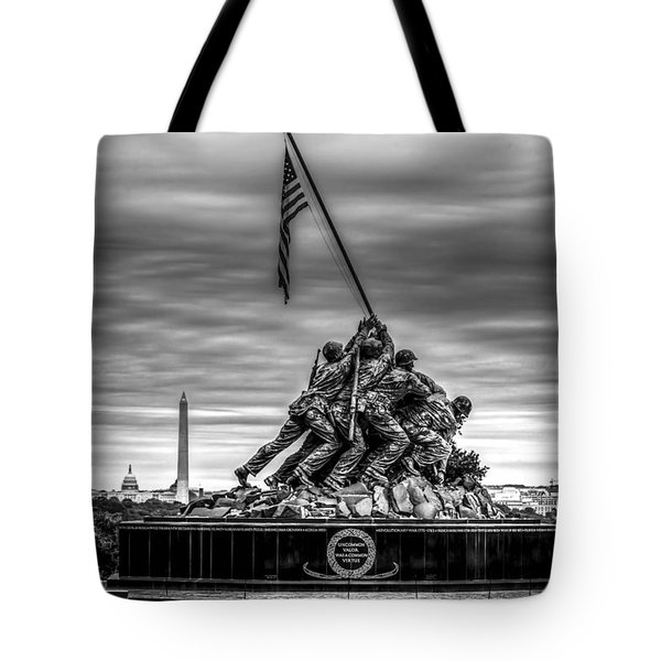 Iwo Jima Monument Black And White Tote Bag