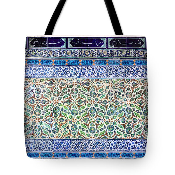 Iznik Ceramics With Floral Design Tote Bag