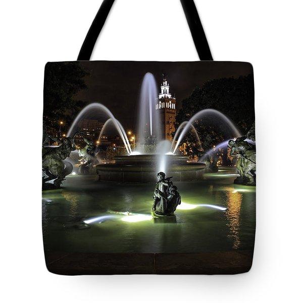 J C Nichols Fountain Tote Bag by Lynn Sprowl
