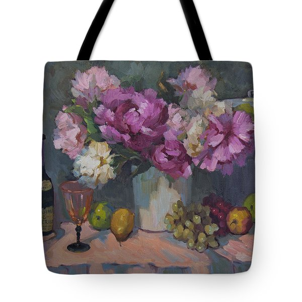 J. P. Chenet And Peonies Tote Bag by Diane McClary