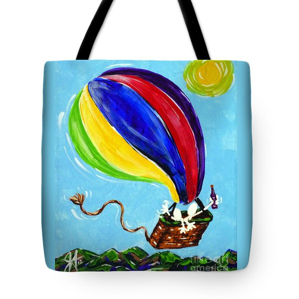 Tote Bag featuring the painting Jack And Charlie Fly Away by Jackie Carpenter