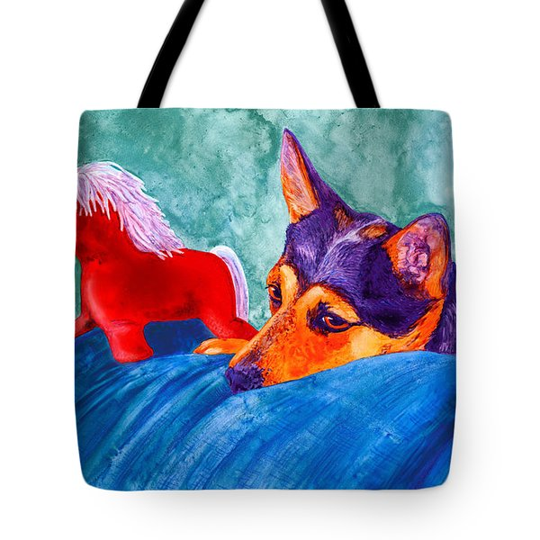 Jack And Red Horse Tote Bag