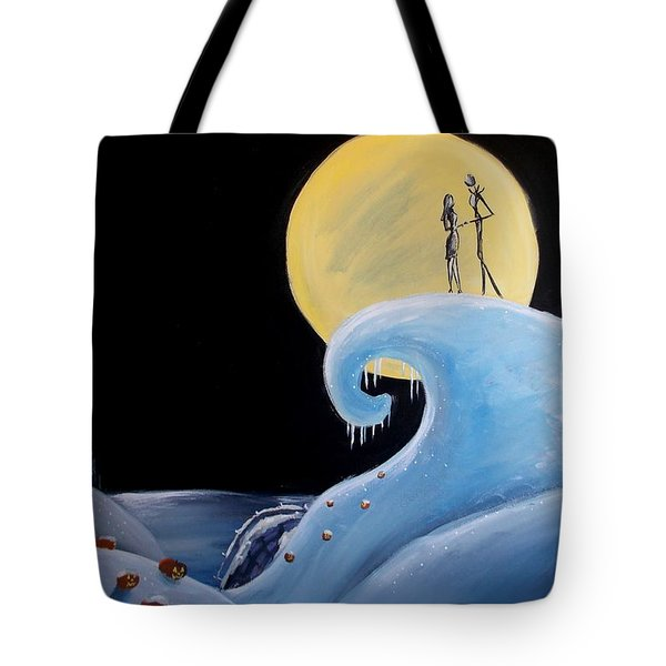 Jack And Sally Snowy Hill Tote Bag