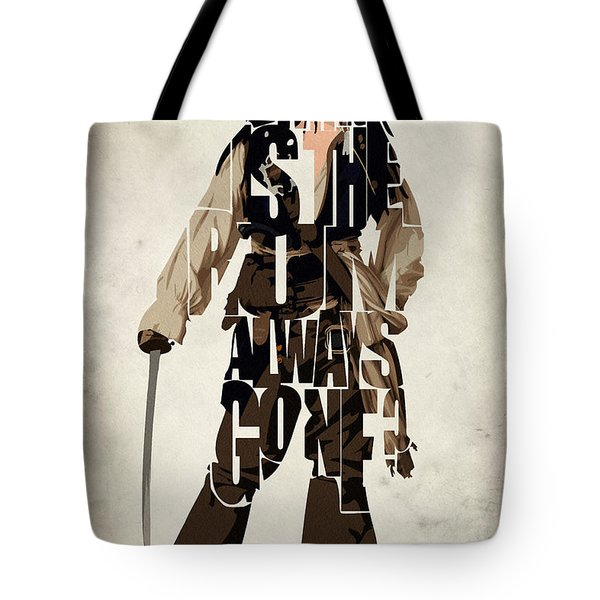 Jack Sparrow Inspired Pirates Of The Caribbean Typographic Poster Tote Bag by Ayse Deniz