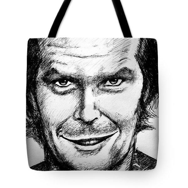 Tote Bag featuring the drawing Jack Nicholson #2 by Salman Ravish