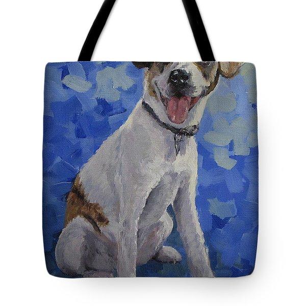 Jackaroo - A Pet Portrait Tote Bag by Karen Ilari