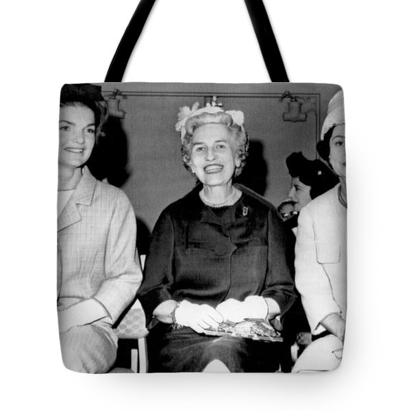 Jackie Kennedy At Luncheon Tote Bag by Underwood Archives